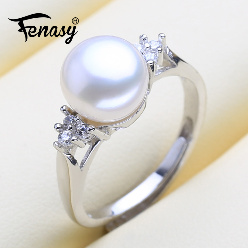 FENASY 925 Sterling Silver Ring Geometric Shape Natural Freshwater Pearl Rings For Women Female Fine Jewelry