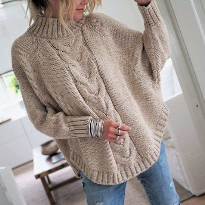 Women 39 s thick Sweater vintage fashion Warm Plain Women 39 s Winter Autumn 2019 Sweaters Pullover Little High Round Neck Bat Sleeve in Pullovers from Women 39 s Clothing
