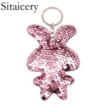 Sitaicery Chaveiro Cute Bunny Keychain Colorful Sequins Keychain Christmas Gifts For Ladies Custom Keychain Women Accessories(China)