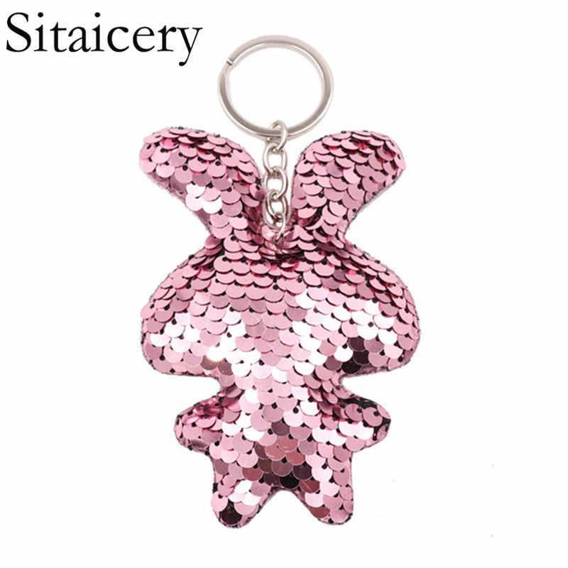 Sitaicery chaveiro bonito coelho chaveiro colorido lantejoulas chaveiro presentes de natal para senhoras chaveiro personalizado acessórios femininos