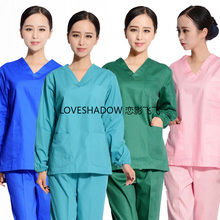 Women Fashion Scrubs Long Sleeve Medical Set Pure Cotton Nursing Clothes Solid Color V Neck Surgical Uniforms Top Scrubs Pants