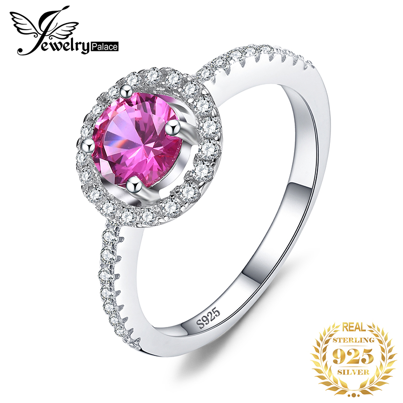 JewelryPalace Round 1.2ct Created Pink Sapphire 925 Sterling Silver Engagement Jewelry Ring Fine Jewelry For Women On Sale