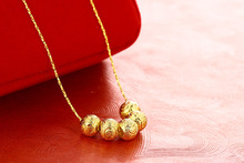 Gold-plated Fashion Scrub Ball Transfer Bead Clavicle Necklace Fresh and Cute Pendant Jewelry Birthday Holiday Gift