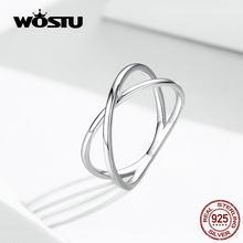 WOSTU – bagues rondes Double couche en argent Sterling 100% 925 pour femmes, bijoux à la mode pour fête de mariage, FIR543