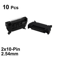 uxcell 10Pcs 2x10 Pin 2.54mm Pitch Double Rows Straight Connector PCB IDC Ejector Header Connectors    -