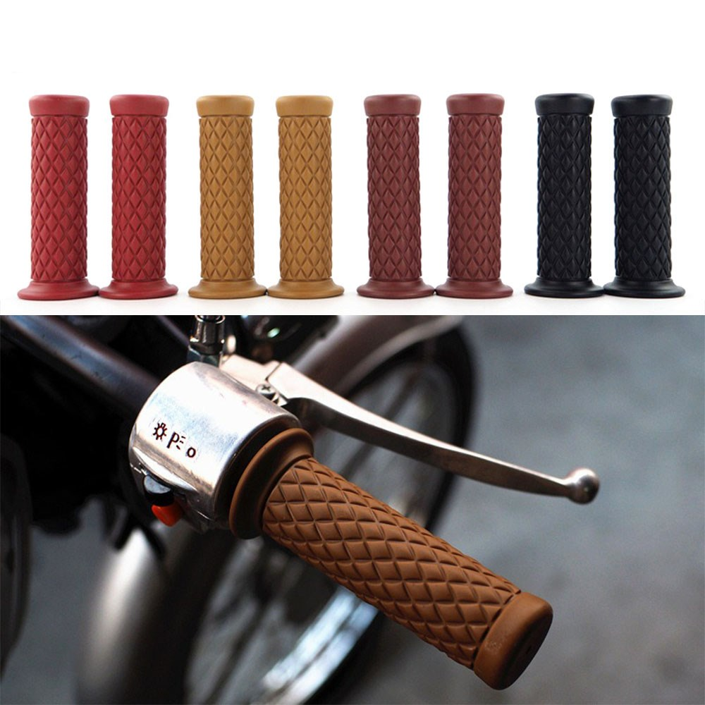 New-Vintage-Cafe-Racer-Motorcycle-Hand-Grips-Rubber-Handle-Bar-7-8-22mm-for-CG125-CB400