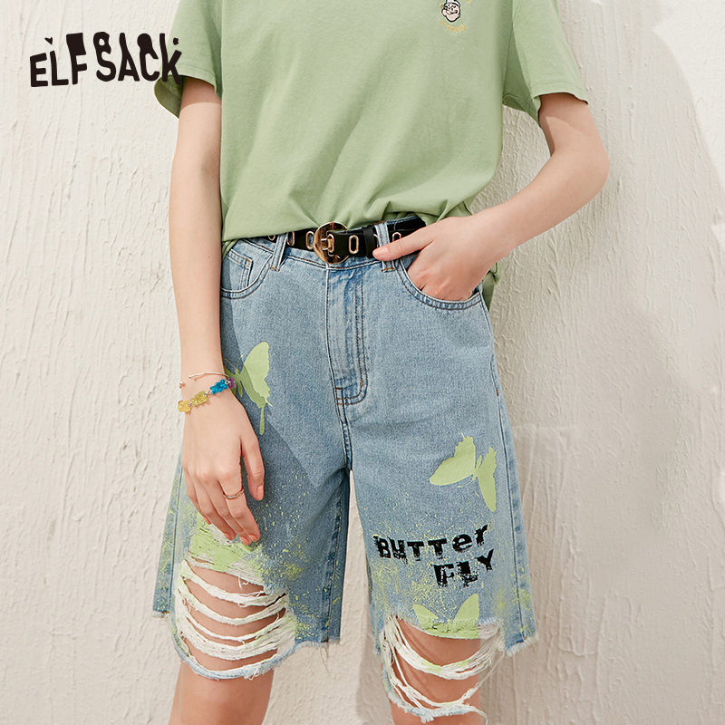ELFSACK Blue Butterfly Print High Waist Casual Women Denim Bermuda Shorts 2020 Summer ELF Ripped Korean Ladies Daily Bottoms