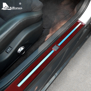 Image 4 - AIRSPEED คาร์บอนไฟเบอร์สำหรับ Nissan GTR R35 2008 2016อุปกรณ์ตกแต่งภายในรถประตู Sills แผ่น Protector Cover สติกเกอร์