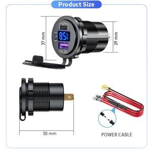 Image 2 - 12 24V USB araç şarj USB otomatik soket QC3.0 hızlı şarj PD portu Fit telefon için DVR kamera ipad su geçirmez 12V şarj aksesuarı