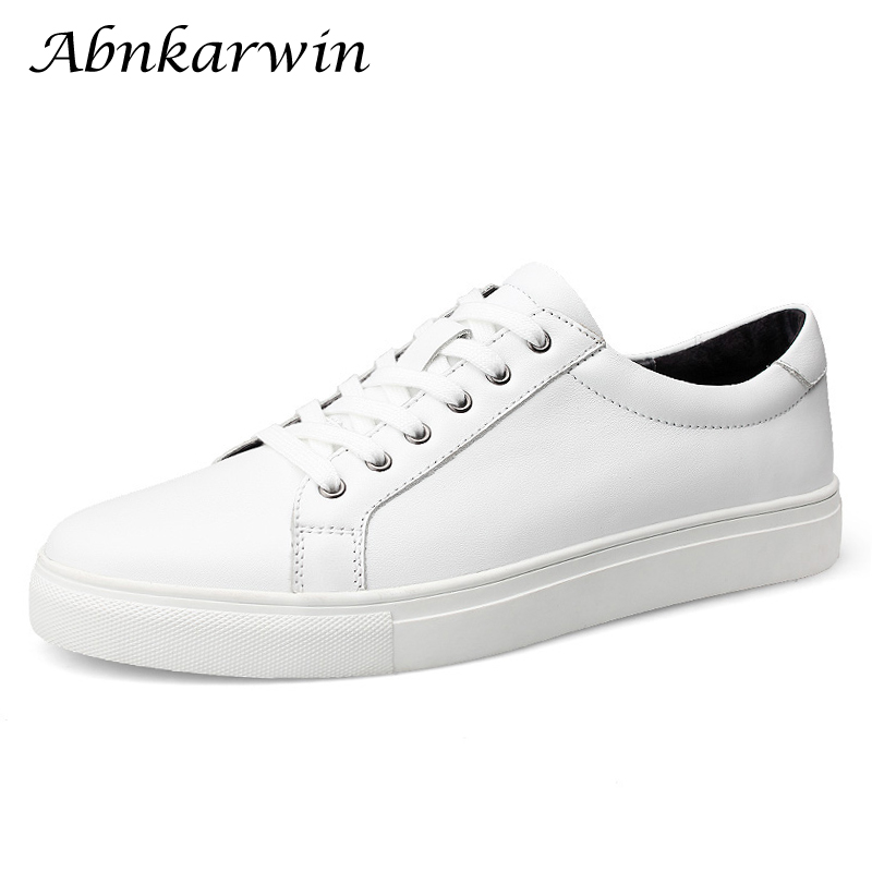 Abnkarwin Casual Solid Mens White Shoes Genuine Leather Sneakers Black Flats Breathable Plus Size 49s