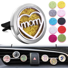 New Car Air Diffuser Locket Mom Stainless Steel Vent Freshener Essential Oil Perfume Aromatherapy Necklace