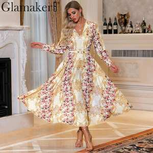 Glamaker Paisley patchwork rose print elegant dress Long lantern sleeve vintage holiday boho dress Party club high waist vestido