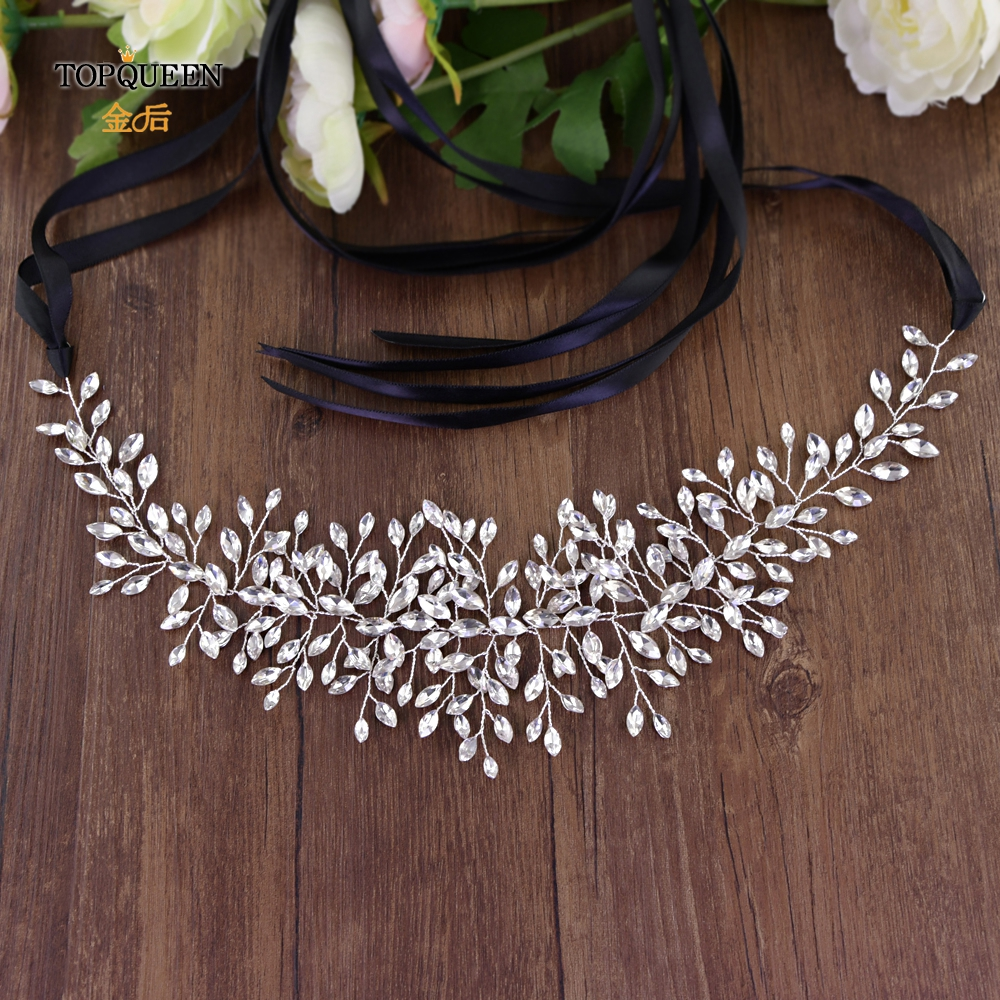 TOPQUEEN SH237 High Quanlity Bridal Belts Silver Diamond Belt Bridal Sashes Belt Luxury Rhinestone Belt Wedding Dress Sash Belt