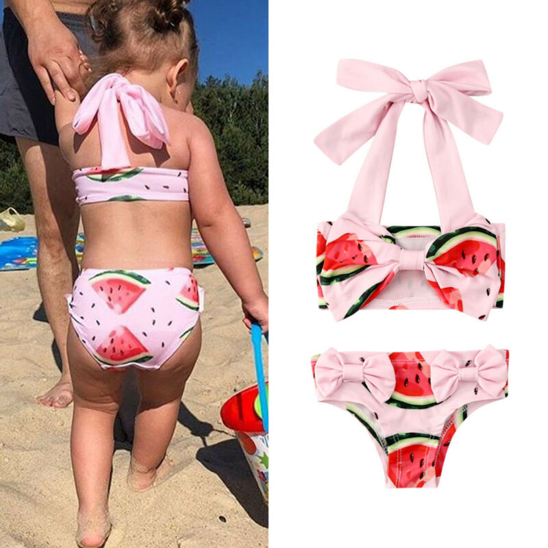 2020 Infant Baby Kids Girls Bow Swimwear Bikini Sets Watermelon Print Swimsuit Swimming Swim Bathing Age 1-6Y