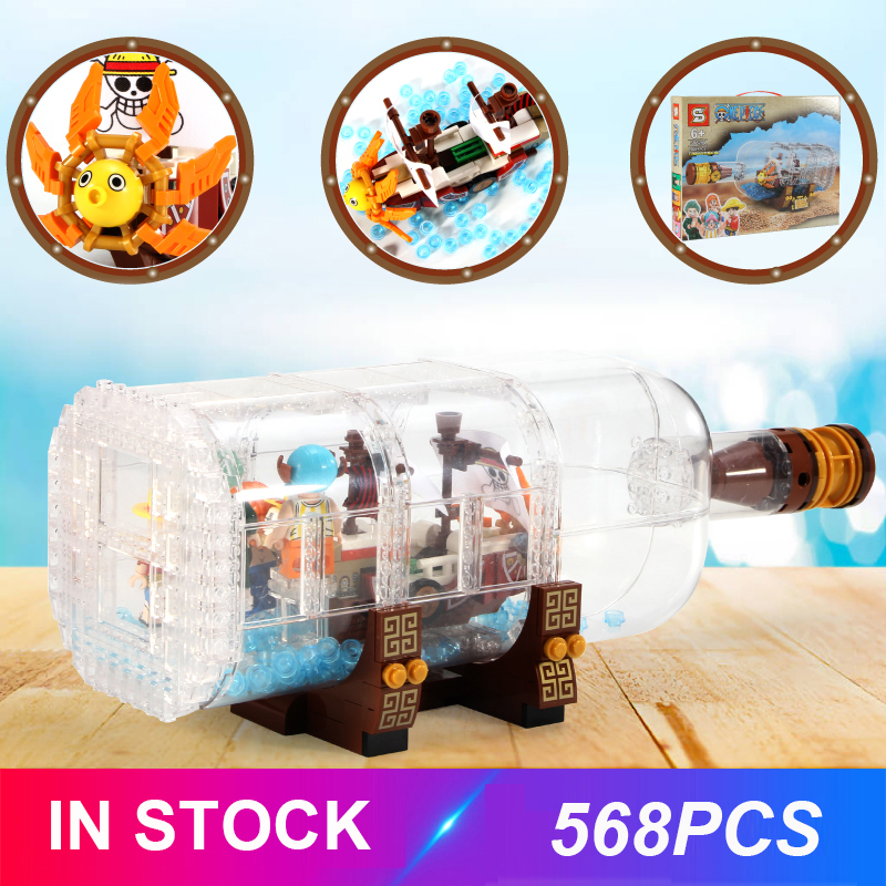 New LepinBlocks Ship in the bottle Compatible IDEA <font><b>21313</b></font> Pirate ship Building Bricks Children Educational Toy Birthdays Gift image