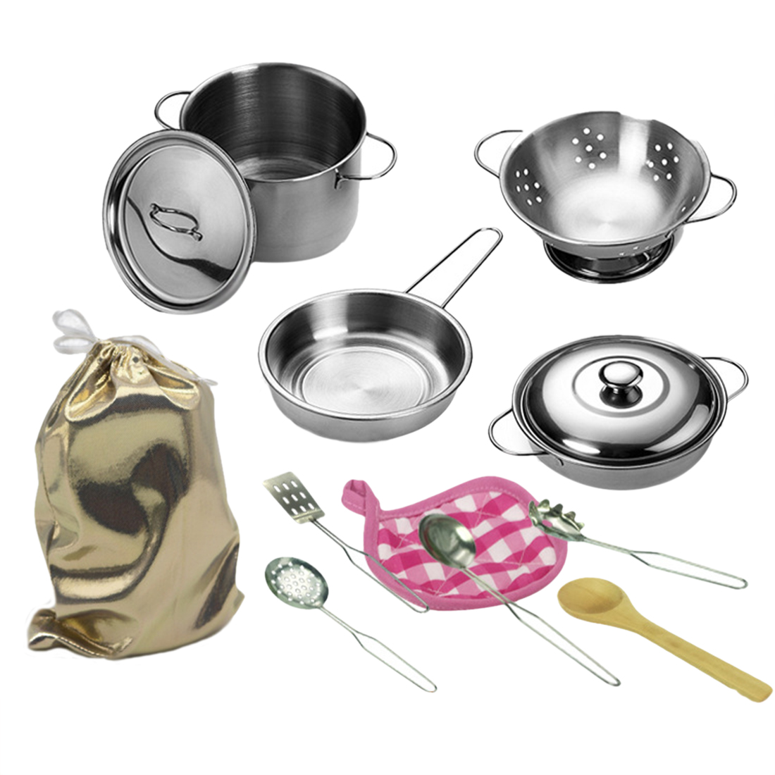 12pcs/set Kids Kitchen Set Stainless Steel Pretend Play Kitchen Cooking Toys Educational Kids Toy Cooking Pots Children Pans