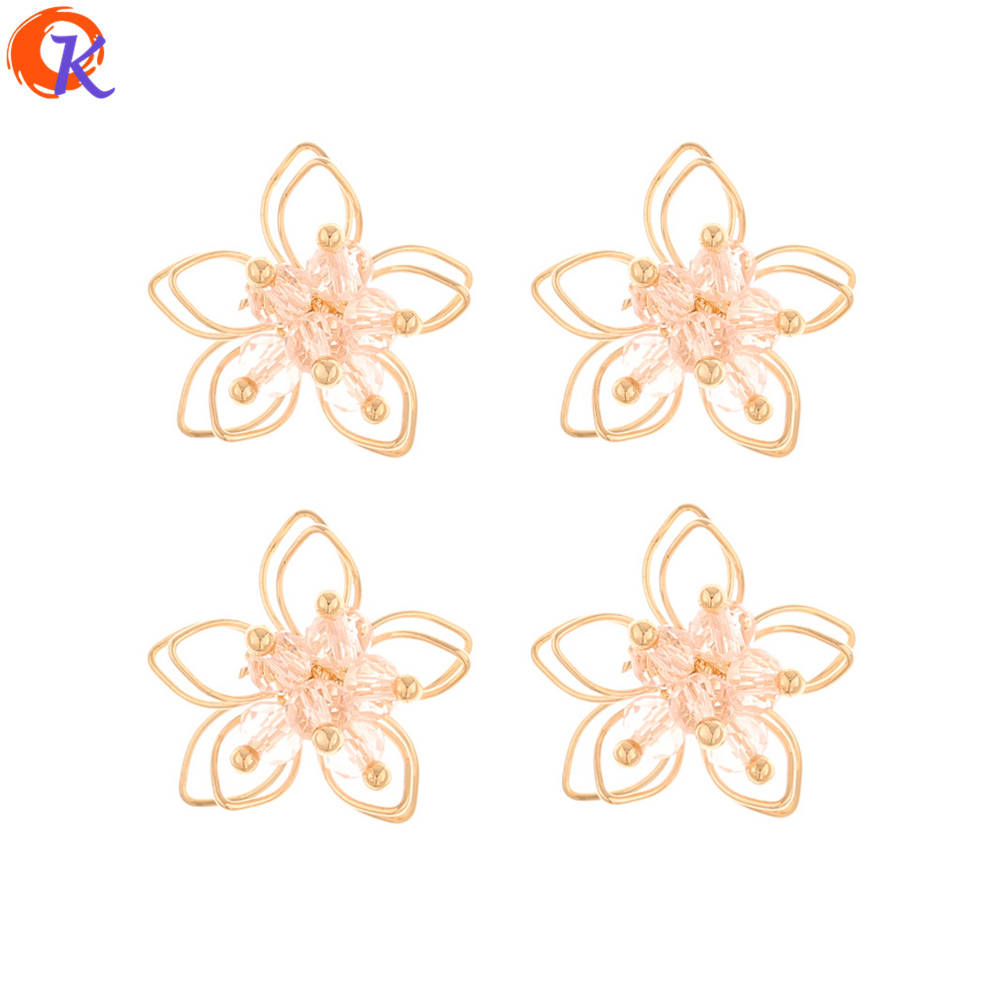 Cordial Design 50Pcs 20*20MM Jewelry Accessories/DIY Earrings Making/Clear Crystal Flower/Charms/Hand Made/Earring Findings