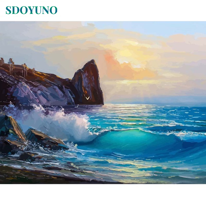 SDOYUNO Frameless Painting By Numbers On Canvas 60X75cm DIY Canvas Painting Kits Seascape Home Decor Drawing By Number