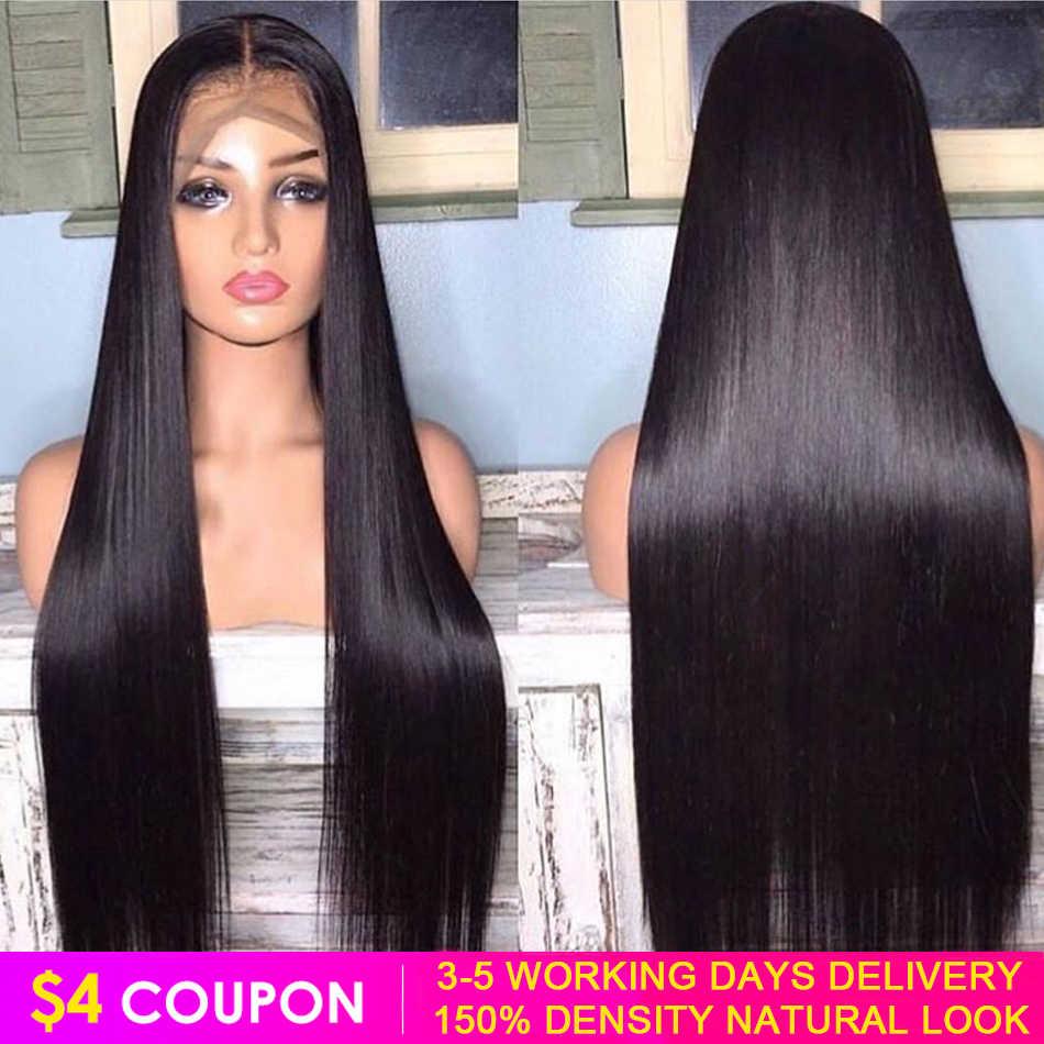 Koronki przodu włosów ludzkich peruk prosto 13x4 wstępnie oskubane 150% malezyjskie włosy typu Remy peruka 5x5 zamknięcie peruka 30 Cal przednie peruki dla kobiet