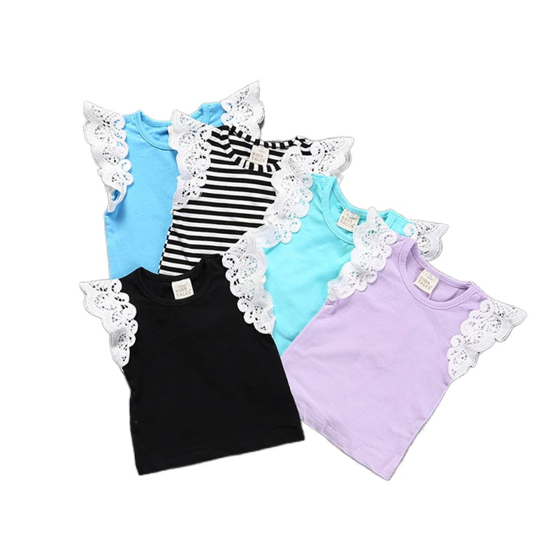 Girls Summer White Lace Flying Sleeve T Shirt  Candy Color Cotton Infant Baby Top Fashion Girls Clothes