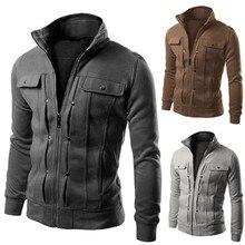 Модный мужской тонкий кардиган с отворотом, мотоциклетная куртка для езды, куртка#8,23