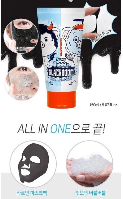 Elizavecca Milky Hell-Pore Bubble Black Boom Charcoal Pore Pack 150ml Deep Cleansing Black Mask Blackhead Remover Peel-Off Mask 2
