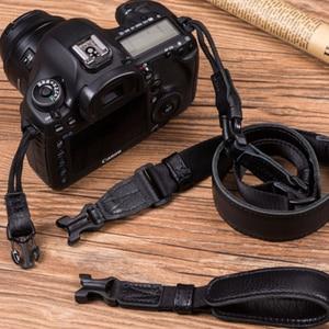 Image 2 - Vintage Original Handmade Genuine Leather +Webbing Simple Camera Shoulder Strap DSLR Neck Wrist Belt for Canon/Nikon/Sony