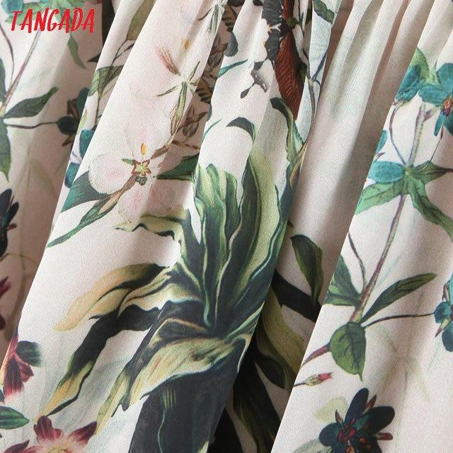 Tangada fashion women leaf print halter sundress with slash 2020 new arrival Ladies midi Dress Vestidos QB148 4