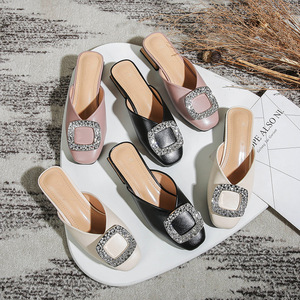 Image 2 - Genuine Leather Mules Women Crystal Buckle Closed Toe Slippers Casual Square Heels Slides Slip on Loafers Ladies Big Size Shoes
