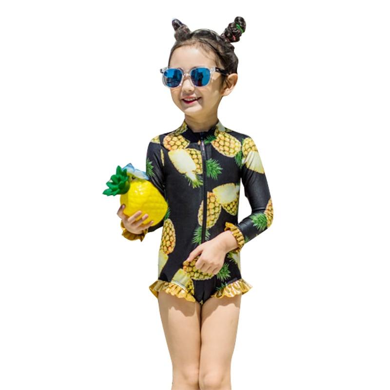 New Style Korean-style KID'S Swimwear Pineapple GIRL'S Girls Baby Siamese Swimsuit Children Swimming Cap Swimwear E