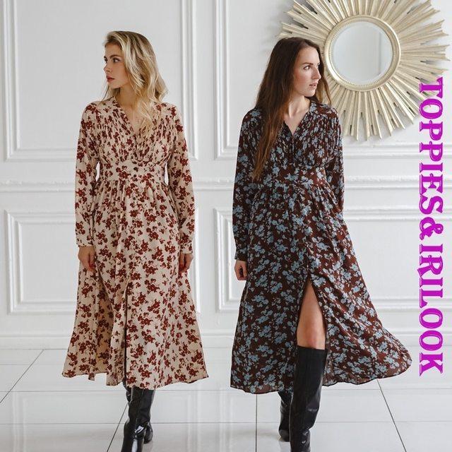 Toppies 2021 spring women dress long sleeve midi dress floral printing single breasted v-neck korean fashion clothings 3