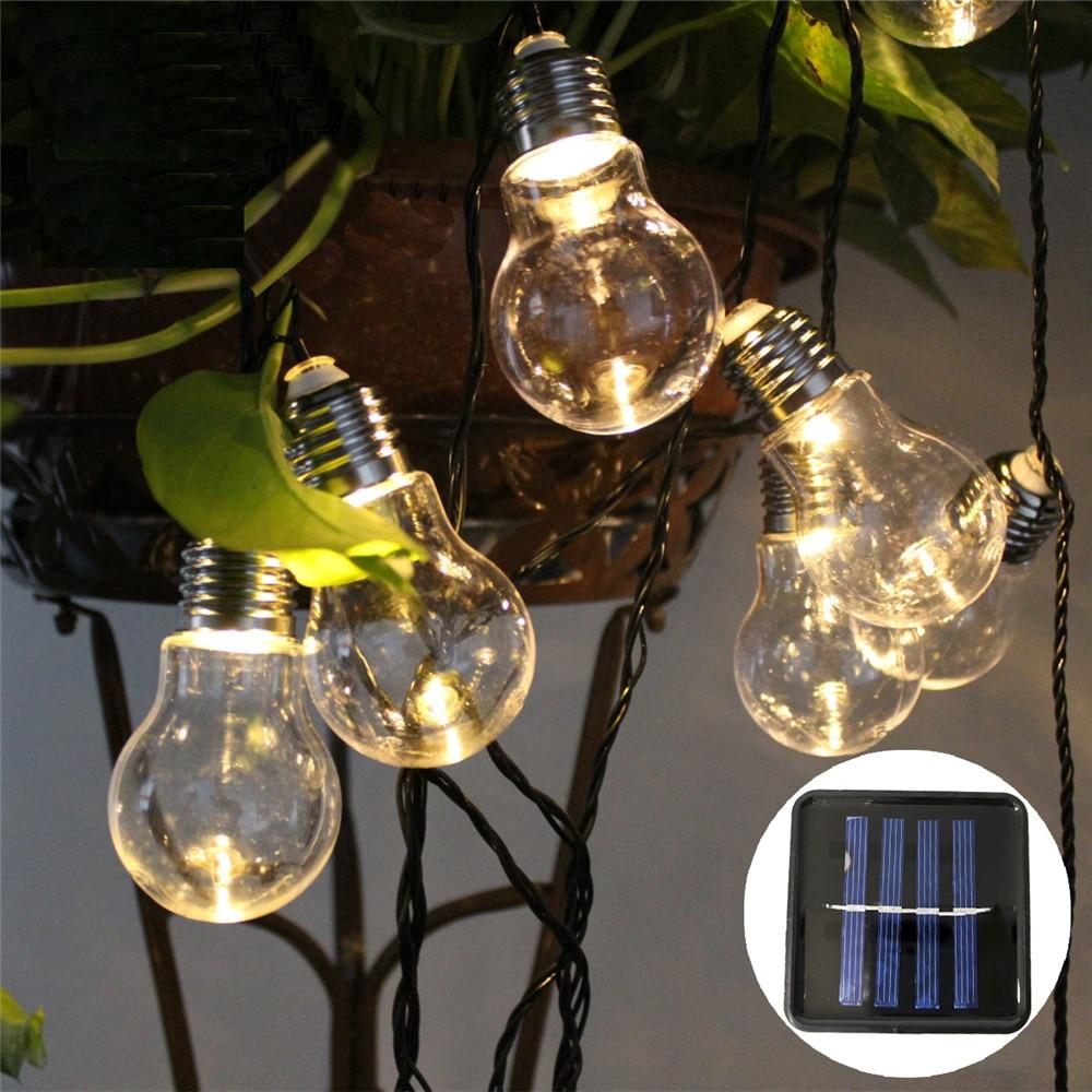 10/20/30Leds Outdoor Solar Bulb Light String Garland LED String Lights Ball Globe Patio Chain Lamps Christmas Fairy String Lamp