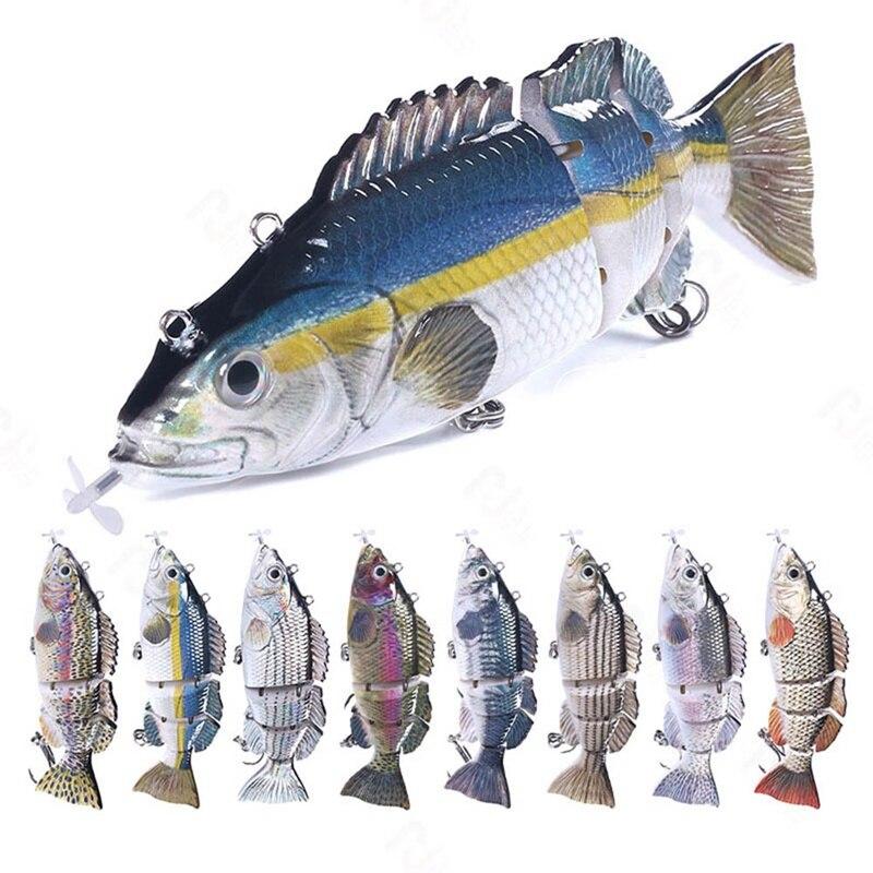 Плавающая приманка для рыбалки, электрическая приманка, воблеры для 4-раздельного плавания, USB Перезаряжаемый мигающий светодиодный светил...