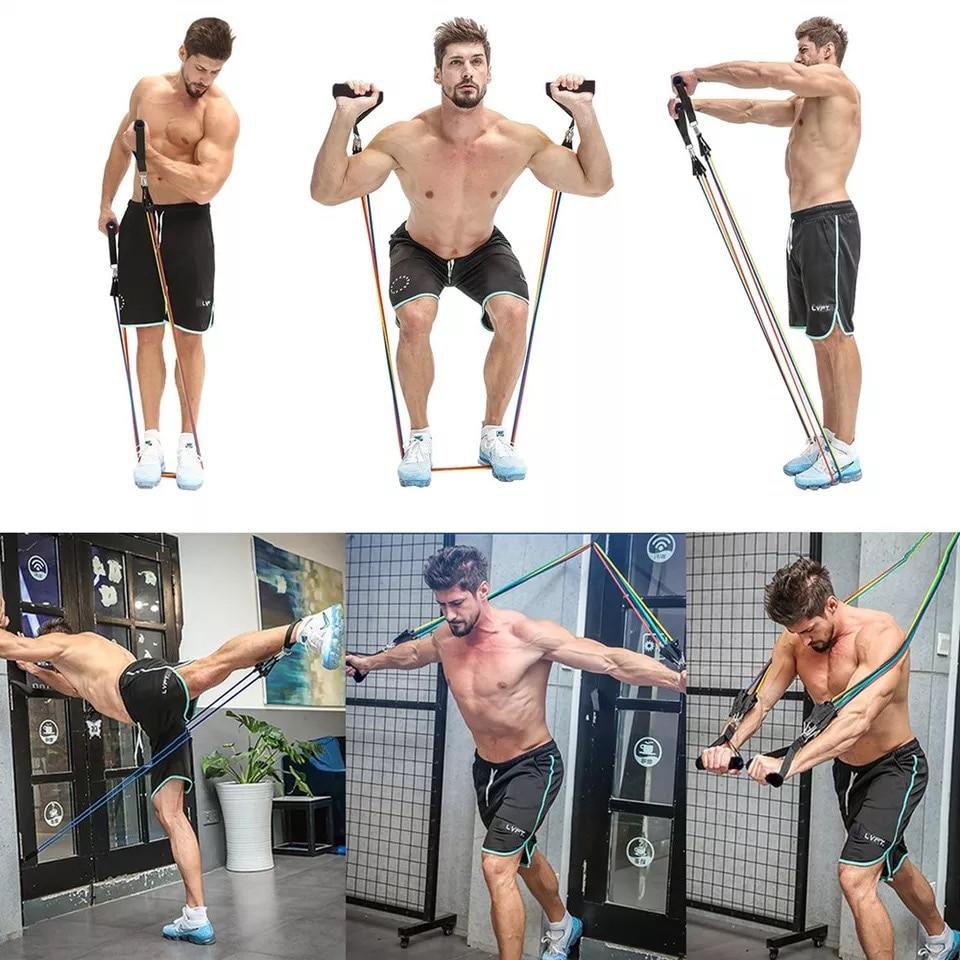 Эспандеры канат для перетягивания спортивный комплект Эспандер для занятий йогой, упражнений, Фитнес резиновые трубки резинка для тренировок домашние тренажеры тренировки с эластичной резинкой-2