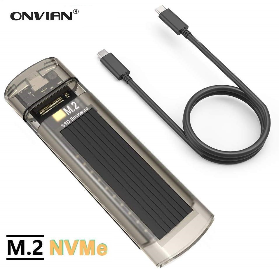 Onvian M2 <font><b>SSD</b></font> Case NVMe <font><b>M.2</b></font> Enclosure to USB C 3.1 Tool-Free Type-C Gen2 10Gbps to <font><b>M.2</b></font> External Case for <font><b>PCIe</b></font> NVMe M-Key <font><b>SSD</b></font> image