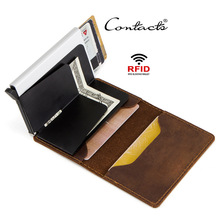 2019 new Vintage Genuine Leather Aluminum RFID Men Business ID Card Holder Thin Pop Up Slim Case Wallet Male Coin Purse
