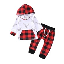 Baby Boy Clothes 2Pcs Set Winter Hooded Sweatshirt And Long Pant Casual Plaid Print newborn baby boy Suit infant D30