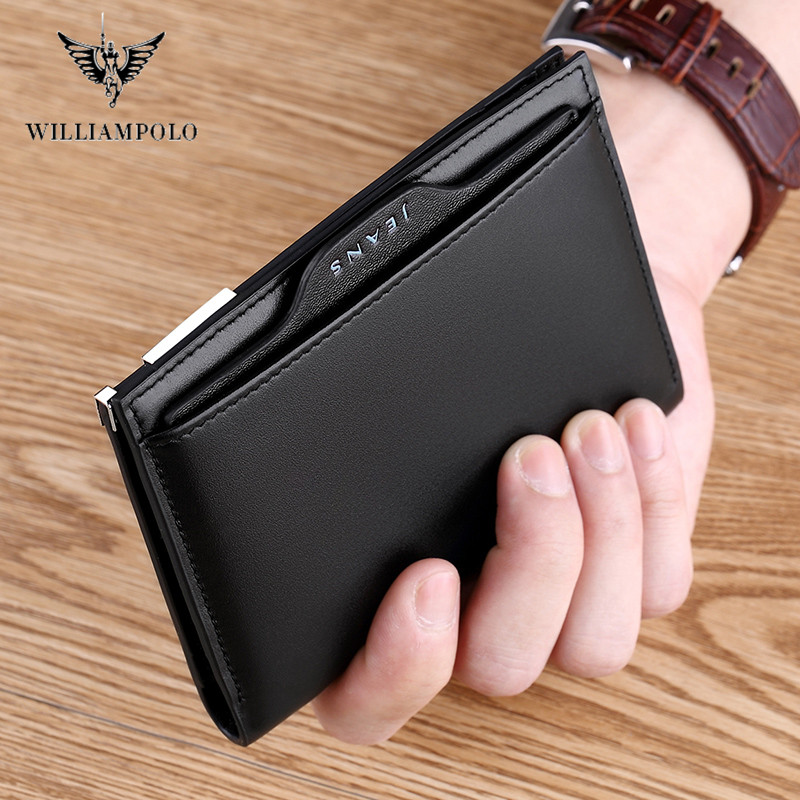 WILLIAMPOLO Men Short Wallet Genuine Leather Removable  Card Holder Wallet Male Wallet Cowhide Multislot Man Card Holder