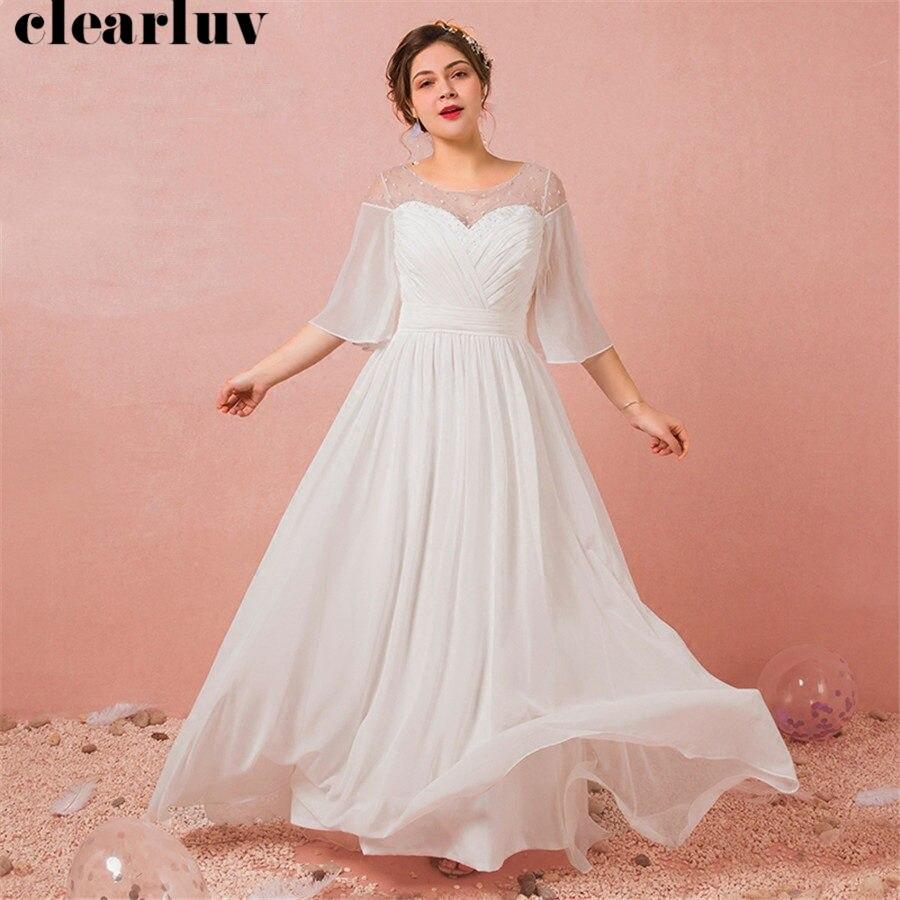 Evening Dress Three Quarter Sleeve O-neck Robe De Soiree T440 2019 Plus Size Women Party Dresses White Simple Long Formal Gowns thumbnail