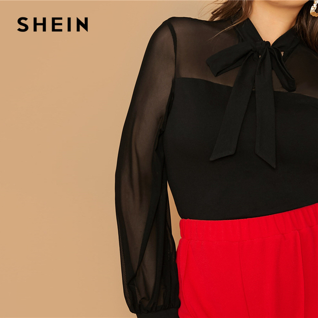SHEIN Plus Size Black Tie Neck Mesh Sleeve Top Blouse Women Autumn Stand Collar Office Lady Womens Elegant Tops and Blouses 3