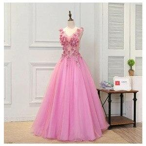 Image 5 - 2019 sıcak satış pembe Quinceanera elbiseler el yapımı çiçekler prenses kabarık balo elbisesi Vestido Quinceanera Vestido Debutante 15 Anos