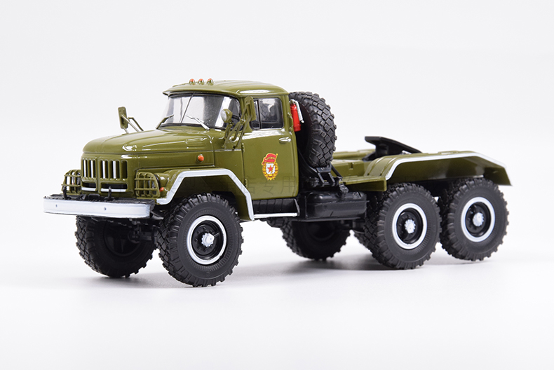 Classic Diecast Toy Model 1:43 Soviet Union Russian ZIL-131NV Military Truck Tractor Trailer Model For Collection,Decoration