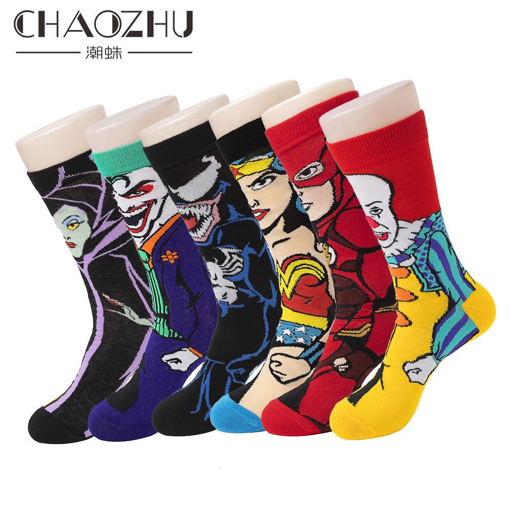 CHAOZHU 20 Colors Men's Tube Cotton Crew Socks Characters Anime Clown Venom Cool Boys Young Skateboard Long Sox Male 4 Seasons