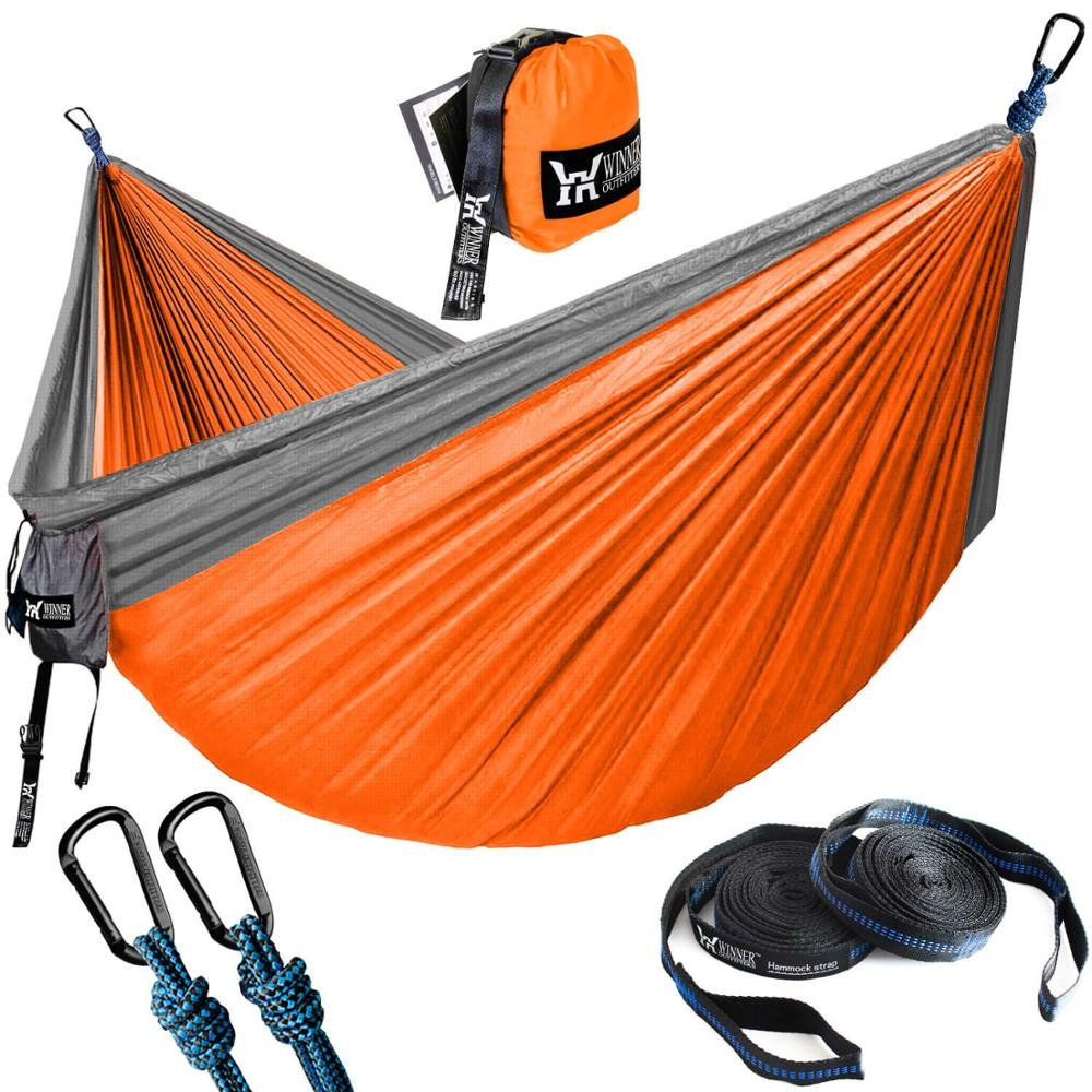Hiking Camping Hammock Outdoor Garden Hanging Hammock Portable Parachute Nylon Double Hammocks With 3m Strap Camping Furniture 1