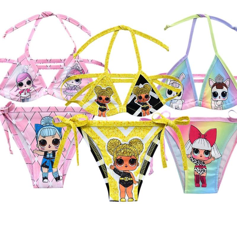 2020 Summer New LOL Surprise Dolls Anime Figures 3-12 Years Old Kids Bikini Girls Split Swimsuit Cute Outdoor Swimsuit Quick Dry