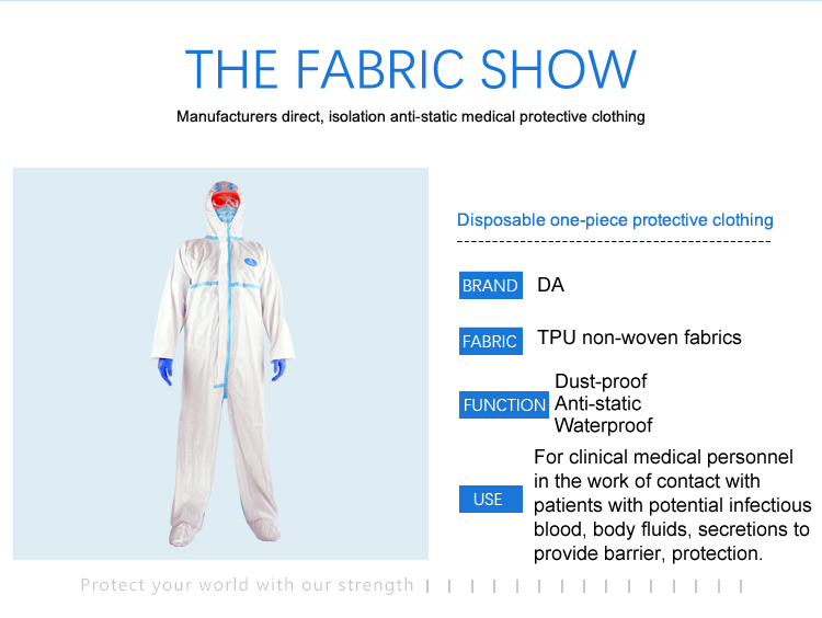 Coverall Disposable Anti Epidemic and Antibacterial Isolation Suit for Prevention from Viruses and Bacteria 7