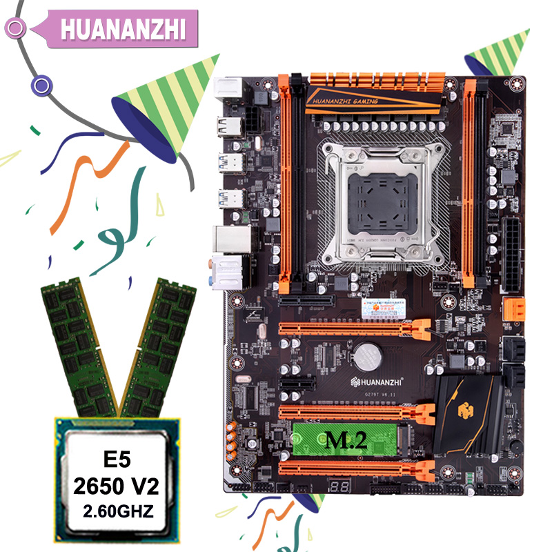 Gute motherboard HUANANZHI deluxe X79 motherboard mit M.2 slot rabatt motherboard mit CPU <font><b>Xeon</b></font> <font><b>E5</b></font> <font><b>2650</b></font> <font><b>V2</b></font> RAM 16G (2*8G) image