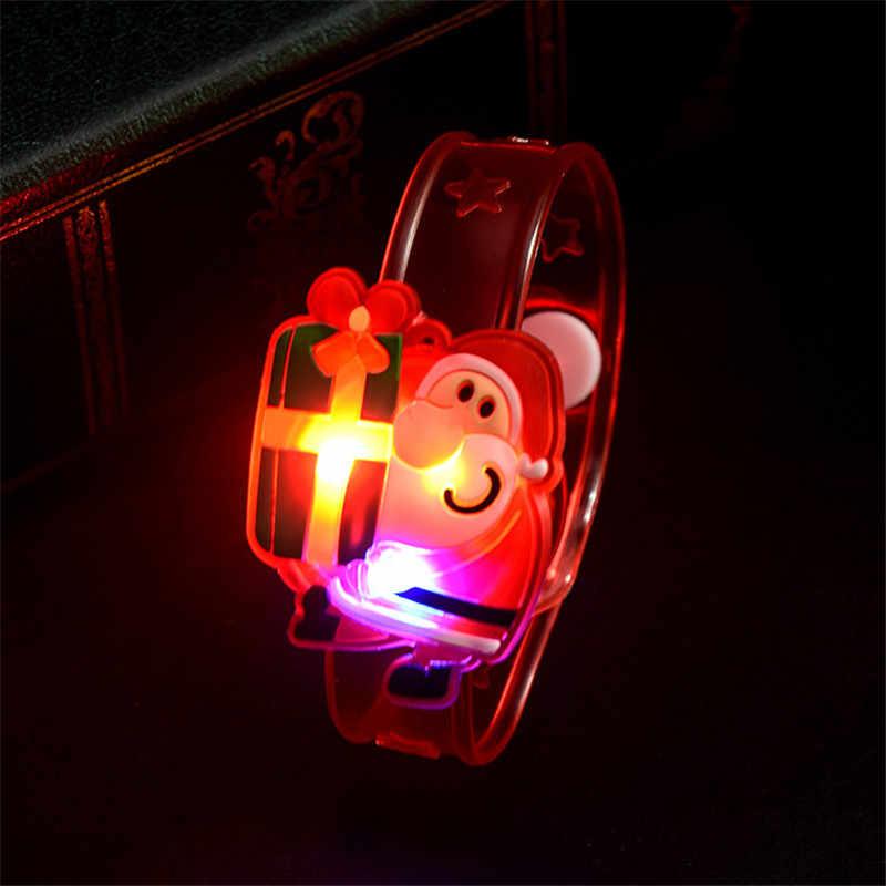 Decoração de natal led glowing watch suprimentos de natal boneco de neve santa pulseira anel de palmas brinquedo ornamento de natal presentes de ano novo
