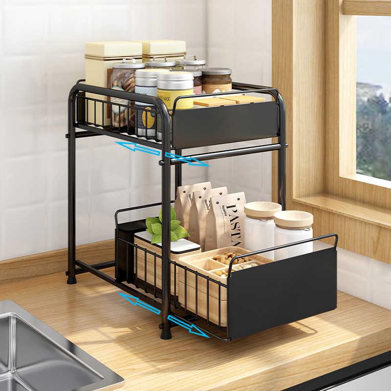 organisateur d armoire sous evier a 2 niveaux avec tiroir de rangement coulissant organiseur de bureau pour cuisine comptoir de salle de bain