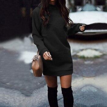 Женское плотное прямое платье-свитшот с длинным рукавом и круглым вырезом, модель WDC4058 на осень и зиму, 2020 3